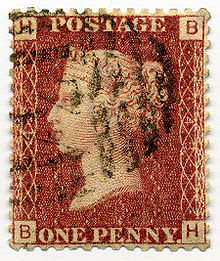 220px-Stamp UK Penny Red pl148